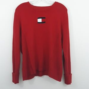 Tommy Hilfiger XL Flag Ribbed Red Sweater
